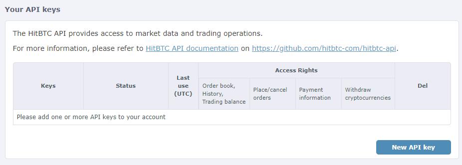 Create HitBTC API