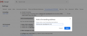 Email forwarding - Add forwarding address