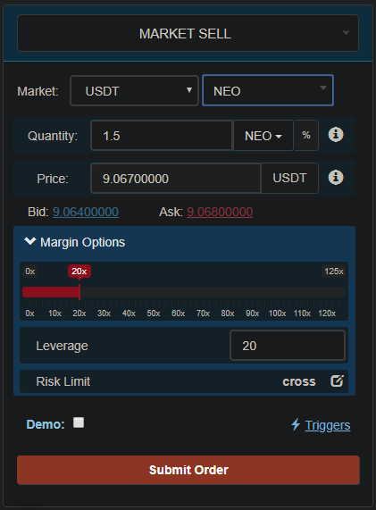 Binance Futures open short position